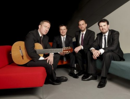 Backstage at the Norton Center with Brian from the Dublin Guitar Quartet