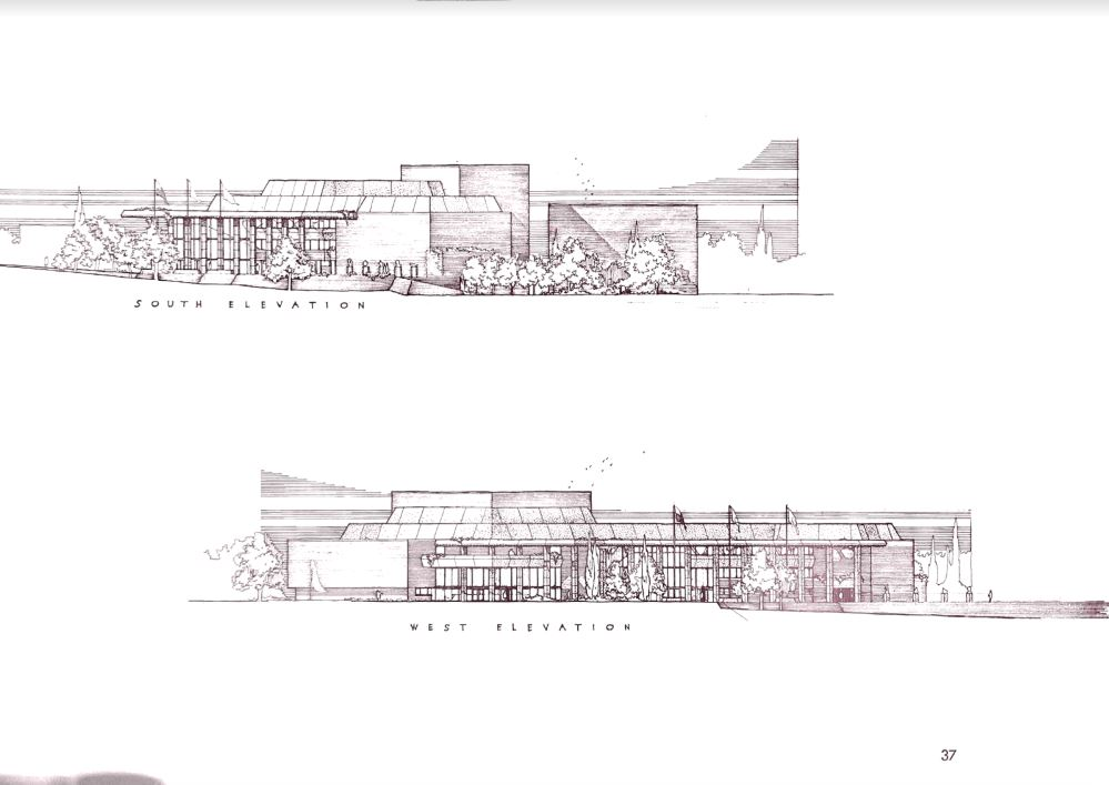 S W elevation sketches 1 - The Wright Angle Exhibit