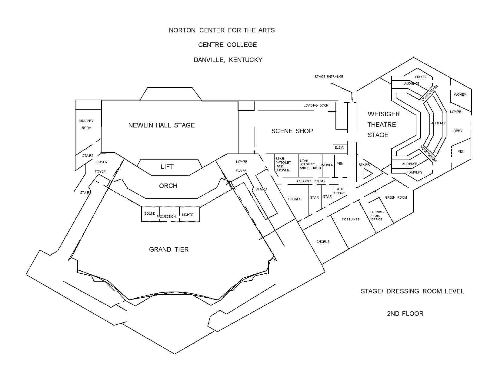 Norton Center for the arts backstage layout - Technical information