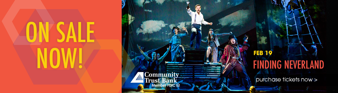 Website header ON SALE NOW finding neverland - Home page